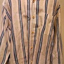 Tommy Bahama Men's Long Sleeve White With Blue Stripes Shirt Size L Photo