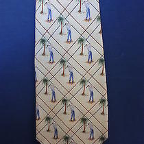Tommy Bahama Men's Neck Tie Pale Yellow W/palm Trees and Man Swinging Golf Club Photo
