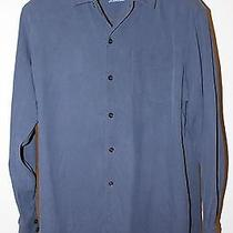Tommy Bahama Men's Sz Xl 100% Silk Dark Blue Long Sleeve Shirt Euc Photo