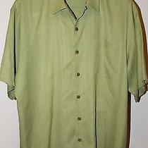 Tommy Bahama Men's Sz Xl 100% Silk Green Euc Short Sleeve Shirt Photo