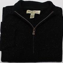 Tommy Bahama Men's Wool/silk Blend 1/4 Zip Sweater Sz L Large Black Speckled Photo