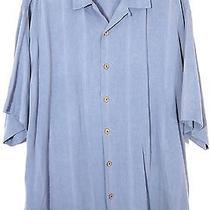 Tommy Bahama Mens Blue Gray Striped 100% Silk Short Sleeve Hawaiian Shirt Xl Photo