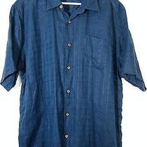 Tommy Bahama Mens Deep Ocean Blue Plaid 100% Linen Hawaiian Camp Shirt Xl Photo
