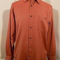 Tommy Bahama Mens Silk L/s Shirt Sz L Large Gold Blush Check Long Sleeve Sport Photo
