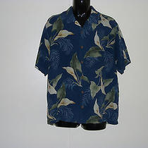 Tommy Bahama Mens Sz L Blue Floral Print Shirt--100% Silk Photo