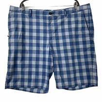 Tommy Bahama Plaid Shorts Mens Size 42 Blue Flat Front Pockets Golf Casual  Photo