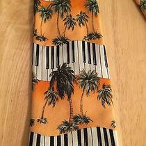 Tommy Bahama Relax 100% Silk Neck Tie W/ Palm Trees Piano Keyboard Photo