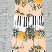 Tommy Bahama Relax Silk Neck Tie Orange Palm Trees Piano Keys Keyboard Mint Photo