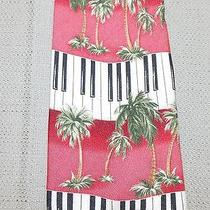 Tommy Bahama Relax Silk Neck Tie Red Palm Trees Piano Key Keyboard Mint Photo