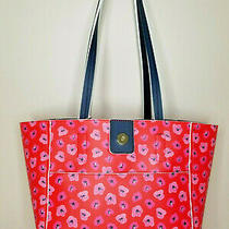 Tommy Bahama Reversible Tote Bag Purse Floral Print or Navy Blue With Wristlet  Photo
