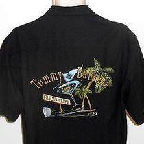Tommy Bahama S Shirt Slice of Life Black Embroidered Martini Golf Small Photo