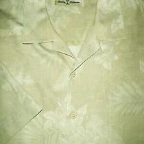 Tommy Bahama Silk Camp Shirt -L- Beige Palm Floral Shiny -Hawaiian Aloha -Soft Photo