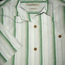 Tommy Bahama Silk Camp Shirt -L- Ivory White Green Blue Stripe -Hawaiian Aloha Photo