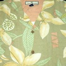 Tommy Bahama Silk Camp Shirt -L- Tan Yellow Palm Floral Circle -Hawaii Aloha Photo
