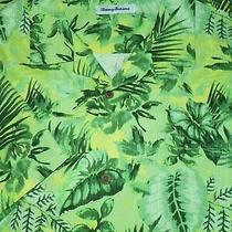 Tommy Bahama Silk Camp Shirt -Xl- Green Yellow Palm Jungle -Soft- Hawaii Aloha Photo