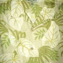 Tommy Bahama Silk Camp Shirt -Xl- White Tan Green Palm Shiny- Hawaiian Aloha Photo