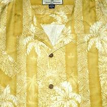 Tommy Bahama Silk Camp Shirt -Xxl- Gold White Shiny Palm Stripe -Hawaii Aloha Photo
