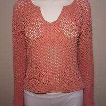 Tommy Bahama Silk Cotton Open Knit Sweater Wood Bead Embellishment Blush Pink M  Photo
