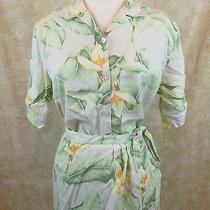 Tommy Bahama Silk Sarong Skirt Shirt Set Size Medium 6 Tropical Hawaiian Print Photo