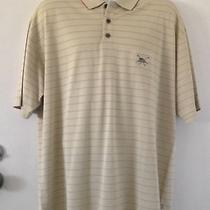 Tommy Bahama Striped Embroidered Marlin/golf Clubs Men's Polo Silk Shirt Large Photo