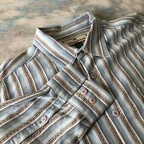 Tommy Bahama Sz L (16.5-33) Handsome Blue Striped Button Down Men Shirt Photo