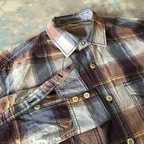 Tommy Bahama Sz M (16-33) Handsome Purple Plaid Button Down Men's Shirt Photo