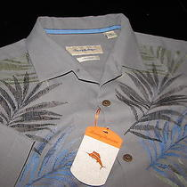 Tommy Bahama Tuscan Frond Embroidered Shadow Silk Camp Shirt Large L T310332 Photo