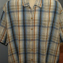 Tommy Bahama White Blue Brown Stripe Casual Mens Button Front 2xl Dress Shirt Photo