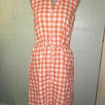 Tommy Bahama Women's Orange White Gingham Button Down Tie Waist Dress S/p Photo