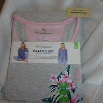 Tommy Bahama Womens New Nwt 78 Large Gray Floral Pajamas Set Pants Photo