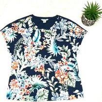 Tommy Bahama Womens Tropical Floral Print Resort Bloom Short Sleeve Top (S) B-1 Photo