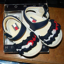 Tommy Hilfiger 2 Infant Baby Ribbon Sandals Shoes Usa Lil Laura Signature Photo