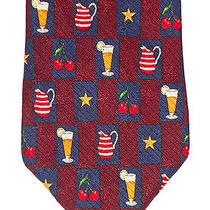 Tommy Hilfiger Beer Pitchers Cherries & Stars Maroon Striped Tail Neck Tie Vguc Photo