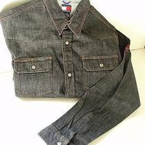 Tommy Hilfiger Black Cotton Denim Button Front Shirt Boys Size Xl New Nwt Photo