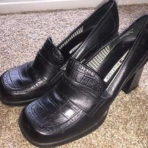 Tommy Hilfiger Black Leather Block High Heel Loafers Womens 8 M Photo