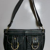 Tommy Hilfiger Black Leather & Logo Fabric Handbag Purse W/brass Rings Photo