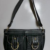 Tommy Hilfiger Black Leather & Logo Fabric Handbag Purse W/brass Rings Photo
