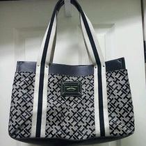 Tommy Hilfiger Black White Logo Trendy Tote Handbag Tons of Storage  Photo