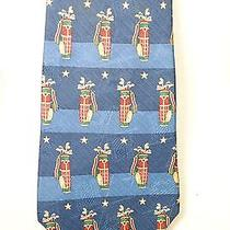 Tommy Hilfiger Blue Golf Bag & Clubs Men's 100% Silk Neck Tie Photo