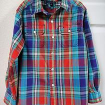Tommy Hilfiger Boy Plaid Button Down Cotton Shirt Long Roll Up Sleeve M 8 10 Euc Photo