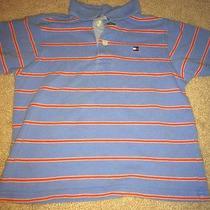 Tommy Hilfiger Boy Size 3/3t Polo Shirt Blue Orange Stripes Photo