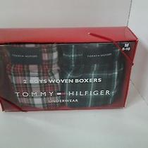 Tommy Hilfiger Boys 2 Pair Boxed Set of Woven Boxers M 8 10 Plaid Red Black Blue Photo
