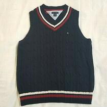 Tommy Hilfiger Boys Sweater Vest Size Small 8-10 Navy Blue Cable Knit v Neck Photo
