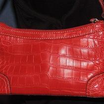 Tommy Hilfiger Bright Red Croc Faux Leather Small Satchel Purse Handbag Vgc Photo