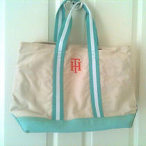 Tommy Hilfiger Canvas Tote Beige Aqua Medium Photo