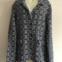 Tommy Hilfiger Cotton Jacket Ladies Size Xl Navy White Blazer Coat Collared Photo