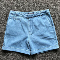 Tommy Hilfiger Denim Look Cotton Soft Blue High Waisted Belt Shorts Size Uk 6 8 Photo