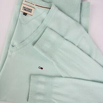 Tommy Hilfiger Denim Men's X Large Stretch Nylon Blend Mint Sweater 25042js Photo