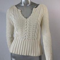 Tommy Hilfiger Ecru Vneck Cable Knit Fitted Sweater S/p Photo