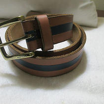 Tommy Hilfiger Edge Painted Tan and Blue Leather Belt Size 36 Photo